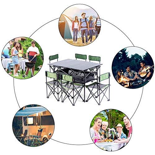 511BiKFm36L - Klappbare Campingtische Tragbare Picknicktische Klappbarer Tisch mit 6 Stühlen für die Verpflegung Camping Trestle Picknickgarten Patio BBQ Party Angeln Lili (Farbe: E)