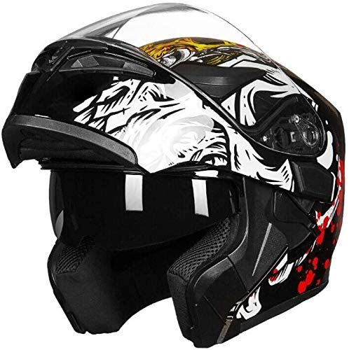 EBAYIN Klapphelme Integralhelme Helm Motorrad Helm mit Offenem Gesicht Motorrad...