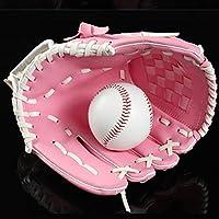 少年野球 軟式 グローブ アウトドアスポーツ野球グローブソフトボールプラクティス機器左手の男性女性のトレーニング (色 : Pink, Size : 26x18cm)