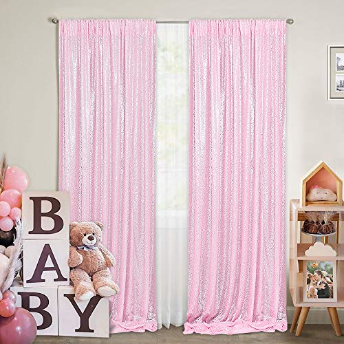 Pink Sequin Backdrop Curtains 2 Panels 2FTx8FT Wedding Photo Backdrop Glitter Birthday Bridal Party Curtains Sparkle Background Drapes