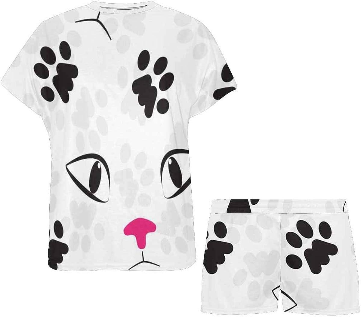 INTERESTPRINT Cat Paw Face Women's Short Sleeve Breathable Sleepwear Two Piece Pajama Set