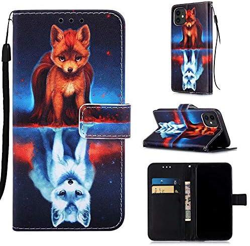 MUTOUREN Hoesje voor iPhone 11 con gratis Schermbeschermer Magneet Flip Wallet Case Beschermende Telefoonhoes met Card Houder Schokbestendige Cover Vos