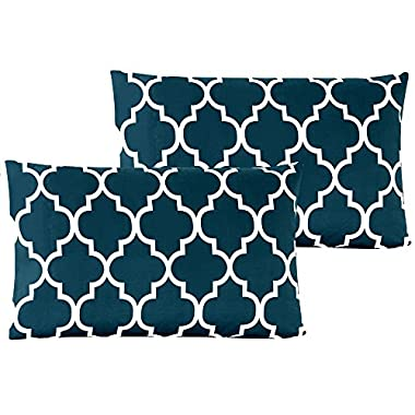 Mellanni Luxury Pillowcase Set Brushed Microfiber Printed Bedding - Wrinkle, Fade, Stain Resistant - Hypoallergenic (Set of 2 Standard Size, Quatrefoil Navy Blue)