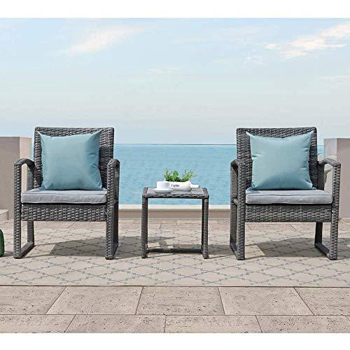 Patiorama 3 Pieces Outdoor Patio Furniture Set, Outdoor Wicker Conversation Set, Patio Rattan Chair Set, Modern Bistro Set with Coffee Table, Garden Balcony Backyard Poolside (Light Gray)