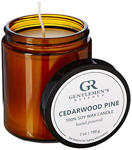 Gentlemen's Reserve Manly Scented Candle, All-Natural 100% Soy Candle for Men (Cedarwood Pine)
