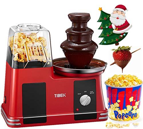 Máquina de palomitas de aire caliente con fuente de chocolate de acero inoxidable, máquina sin aceite con calibre...