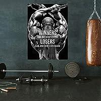 筋肉の男性ボディービルポスター動機付けの壁アートホームジムの装飾フィットネストレーニングポスタースポーツルームホームジムの装飾キャンバスプリント40x60cmフレームなしY10