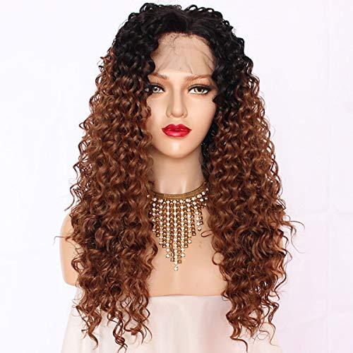 Maycaur Black #30 Ombre Color Brown Wigs Perruque en dentelle synthétique à l'avant pour femme Noir 66 cm