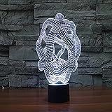 Yyhmkb Pulsador Luz Mando Luz Pared Cables Proyector Luz Lampara Toque Colorido Ligero Abstracto 3D Que Carga La Lámpara De Mesa Ligera Visual Del Regalo Del Led