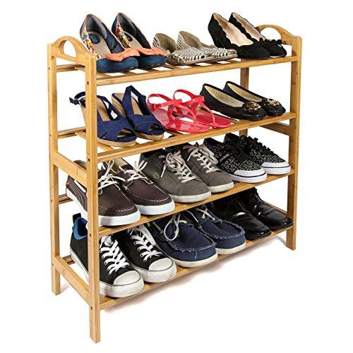 Woodluv 4 Tier Natural Bamboo Wooden Shoe Rack Storage Organiser