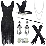 20s Flapper Gatsby Sequin Beaded Evening Cocktail Dress with Accessories Set Black