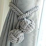 Coppia di fermatende a corda, fatti a mano, con giunto con nappa annodata a sfera, in cotone, accessori per tende Grey