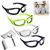 Onion Goggles Glasses, 4 Pair Anti-Fog No-Tears Kitchen Onion Glasses with Inside Sponge, 4 Pcs...