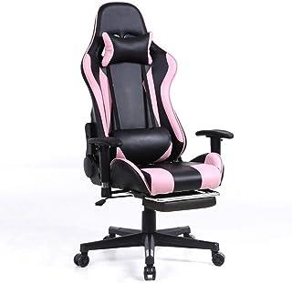 Silla Gaming Racing Patas de la silla plegable de juego silla ergonómica giratoria pesada silla de escritorio de destino de alto a Oficina PC con soporte lumbar del amortiguador, ajustable Reposabrazo