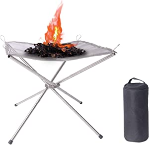Hikeman Portable Mesh Fire Pit Outdoor - Foldable Stainless Steel Patio Fireplace Pefect Wood Burning for Camping Backyard and Garden (Medium)