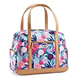 Carry On Travel Bag for Women, Large Zippered Tote for Work, College, Commuting, Blue Lorella Posy