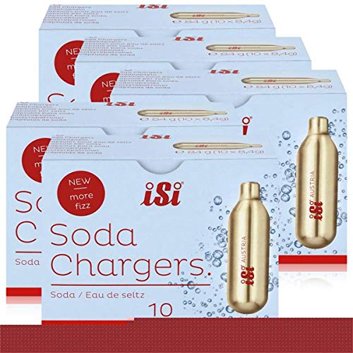 iSi Soda Chargers Sodakapseln 10 Kapseln - Für sprudelndes Wasser 84g (5er Pack)
