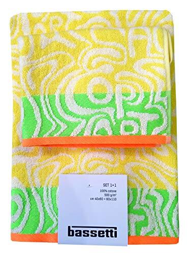Bassetti Juego de 2 toallas de rizo de algodón puro (Op Art Y1) de 2 piezas, 1 + 1 toalla de invitados de 40 x 60 cm + 60 x 110 cm.