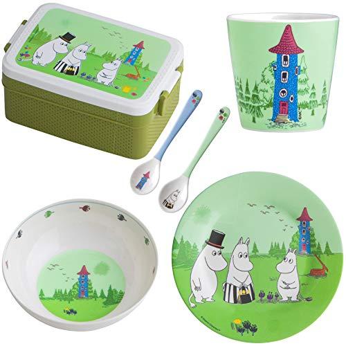 Rätt Start J98117 Mumin - Vajilla infantil con fiambrera, plato, taza y cucharas, multicolor, 585 g