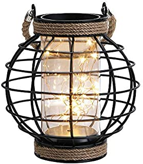 "JHY DESIGN Metal Cage LED Lantern Battery Powered,9.4"" Tall Cordless Accent Light with 20pcs Fairy Lights.Great for Weddings, Parties, Patio, Events for Indoors/Outdoors."