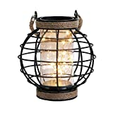 """JHY DESIGN Metal Cage LED Lantern Battery Powered,7.3"""" Tall Cordless Accent Light with 20pcs Fairy Lights.Great for Weddings, Parties, Patio, Events for Indoors/Outdoors."""