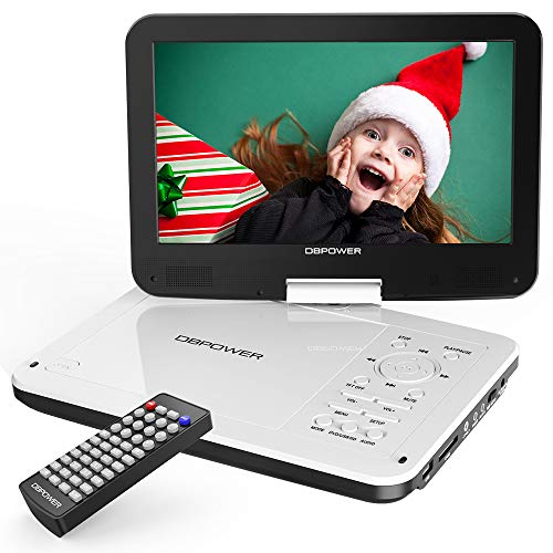 "DBPOWER 12"" Portable DVD Player with 5-Hour Rechargeable Battery, 10"" Swivel Display Screen, SD Card Slot and USB Port, with 1.8 Meter Car Charger and Power Adaptor, Region Free-White"