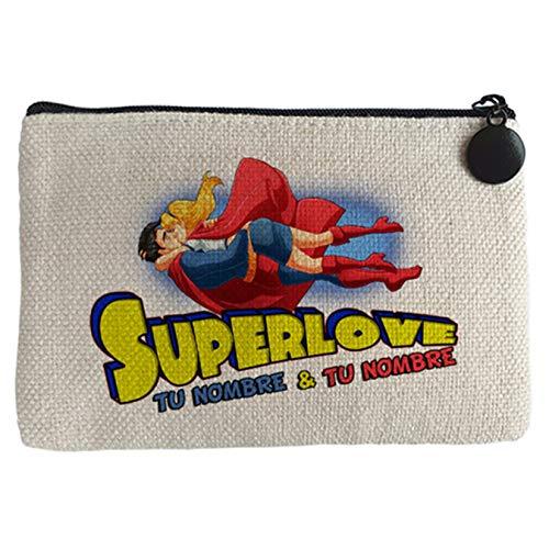 Diver Bebé Monedero Superlove amor friki San Valentín superhéroes personalizable con nombre - Beige, 15 x 10 cm