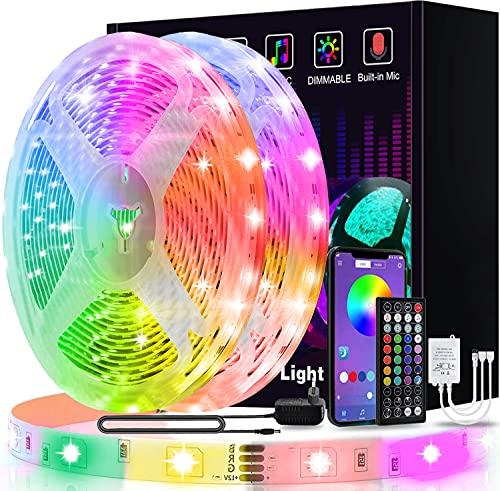 Led Strip 20m, L8star Led Streifen Farbwechsel Led Lichterkette Clever Rgb Led Band Strips mit Bluetooth und fern Kontroller Sync zur Musik, Anwendung für Schlafzimmer