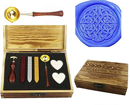 MNYR Vintage Celtic Knot Sealing Wax Seal Stamp Kit Melting Spoon Wax Stick Candle Wooden Book Gift Box Set Wedding Invitation Embellishment Holiday Card Gift Wrap Package Gift Idea Seal Stamp Set