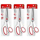 SINGER 00445 8-1/2-Inch, 3-Pack Fabric Scissors with Comfort Grip, Red & White, 3 Count