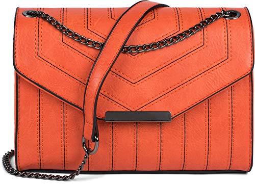 styleBREAKER Damen Umhängetasche mit Ziernähten und Kette, Schultertasche, Handtasche, Tasche 02012308, Farbe:Orange