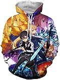 Funnyy Sudadera Unisex, Animado 3D Sword Art Online Hombres Sudadera Sudaderas Blusa Superior de los chándales de Manga Larga otoño Invierno Casual for Mujeres de los Hombres, 3, XXL