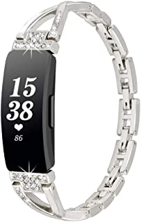 WINOW Compatible with Fitbit Inspire HR Bands/Inspire Band Women Girl Metal Strap Replacement Jewelry Bracelets/Wristbands with Bling Stone for Fitbit Inspire/Inspire hr Smartchatch(Silver)