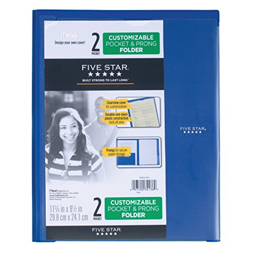 Five Star 2 Pocket Folder with Prong Fasteners, Folder with Pockets, Customizable Cover, Plastic, Color Selected for You, 1 Count (34136) Photo #7