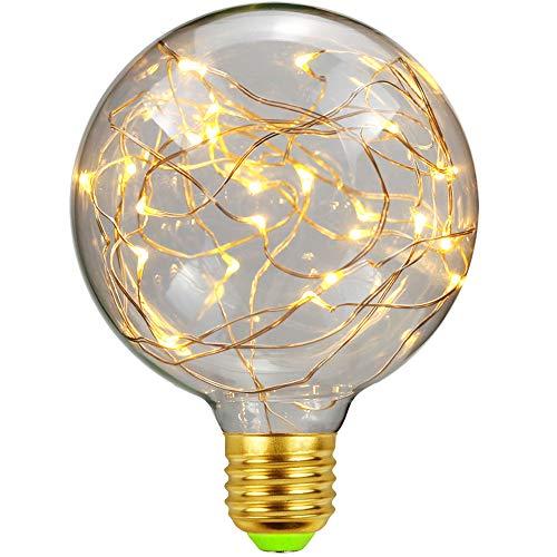 TIANFAN RGB-Edison-LED-Leuchtmittel, 1,8 W, 220 V, E27, Kupferdraht, Soffittenlampe, G95, Warmweiß
