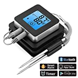 ACTOPP Termometro Cucina con Doppia Sonda Termometro da Cucina per Barbecue Carne Frittura Olio Controllo da Smartphone Bluetooth