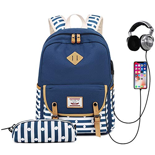 School Backpack Girl Teenager, Travistar Backpack School with Pencil Case, USB Port and Headphone Jack, for 14-Inch Laptop (Navy Blue)