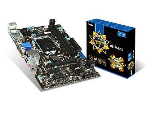 MSI H81M-E34 Mainboard Sockel 1150 (Micro-ATX, Intel H81, 2X DDR3-Speicher, 2X SATA III, 2X USB 3.0)