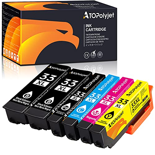 ATOPolyjet Reemplazo Compatible para Epson 33XL 33 Cartuchos de Tinta para Epson Expression Premium XP-7100 XP-530 XP-540 XP-630 XP-635 XP-640 XP-645 XP-830 XP-900
