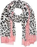 styleBREAKER chal de mujer con un motivo estampado grande y pequeño de leopardo, rayas de colores y deshilachados, pañuelo 01016176, color:Marrón-rosado