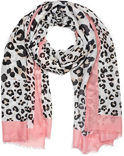 styleBREAKER Damen Schal mit großem und kleinem Leoparden Muster Print, farbigem Streifen und Fransen, Tuch 01016176, Farbe:Braun-Rosa