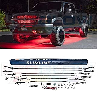 LEDGlow 6pc Red Truck Slimline LED Underbody Underglow Accent Neon Lighting Kit - Solid Color Illumination - Water Resistant, Low Profile Tubes - Included Power Switch Turns Lights On & Off