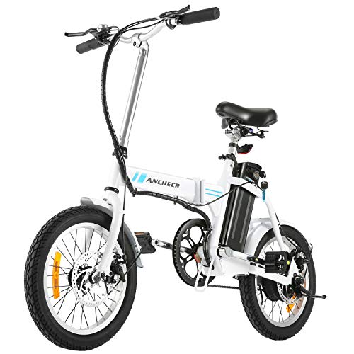 ANCHEER Folding Electric Bike, 16 Inch Collapsible Electric Commuter Bike Ebike with 36V 8Ah Lithium Battery (White)