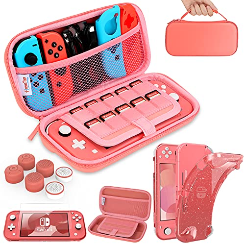 HEYSTOP Compatible with Switch Lite Carrying Case, Switch Lite Case with Soft Glitter TPU Protective Case Games Card 6 Thumb Grip Caps for Nintendo Switch Lite Accessories Kit(Pink)