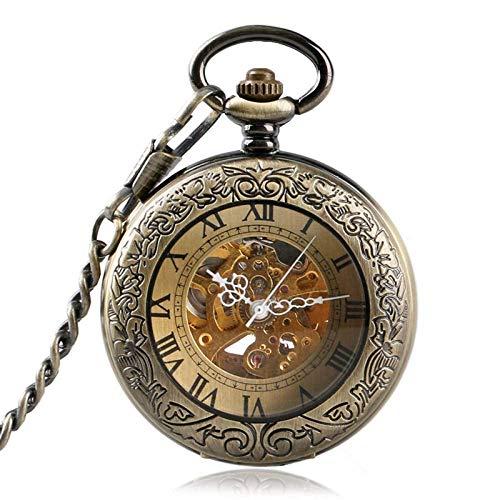 WMYATING Exquisito, hermoso, elegante y único diseño de bronce números romanos automático reloj de bolsillo mecánico hombres mujeres tallado retro cubierta de vidrio transparente cadena regalo