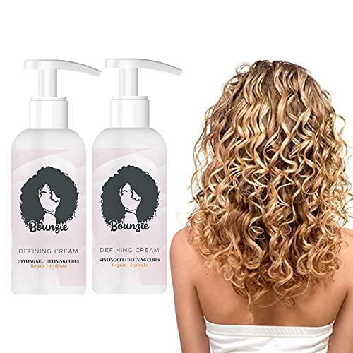 Bounzie Curl Boost Defining Cream 2021, 50 Ml Professional Styling Gel, Curl Boost Defining Cream Haarherstellende Bounce, Curl En Style Kruldefinitie, Ontwart En Vermindert Kroezen (2 STUKS:)