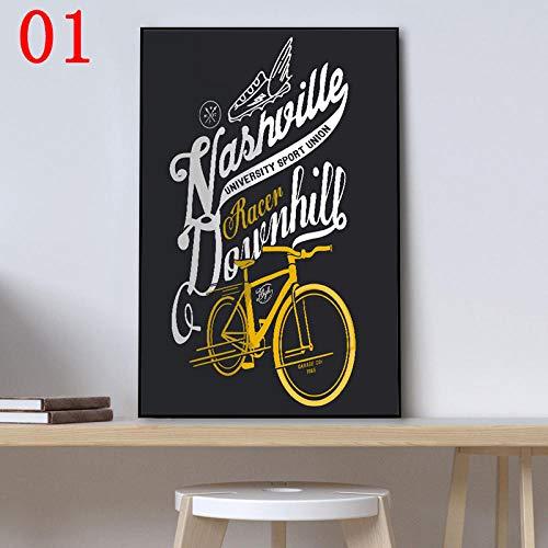 QWESFX Gelb Schwarz Fahrradmalerei Kindermalerei Set Malerei Nach Zahlen Leinwand Kunstdrucke Gestreckte Leinwand Zum Malen (Drucken ohne Rahmen) A5 60x120CM