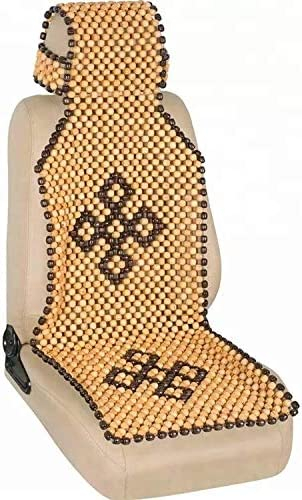 OnWheel FurnishMyAuto Car Bead Seat Covering Full Head Rest Exterior Accessories in Beige