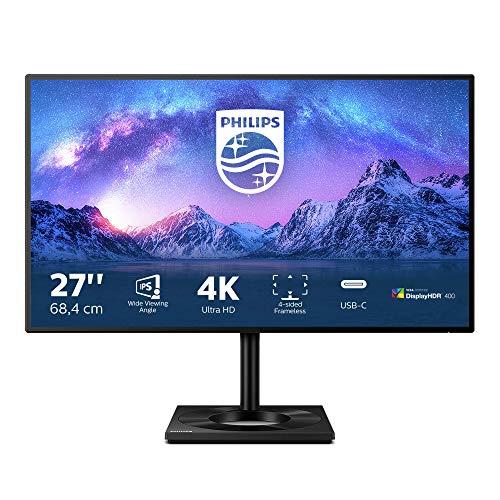 Philips 279C9 - 27 Zoll UHD USB-C Docking Monitor, höhenverstellbar, HDR400 (3840x2160, 60 Hz, HDMI 2.0, DisplayPort, USB Hub) schwarz