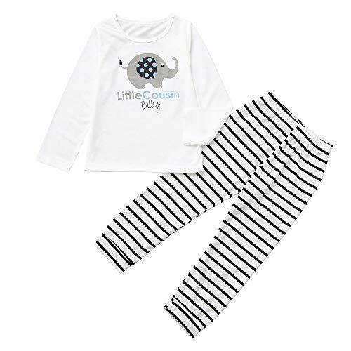 Pochers Pochers 2 STÜCKE Kinder Kinder Langen Ärmeln Brief Cartoon Print Top + Streifen Hosen Set Outfit